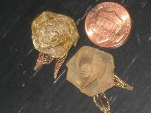 Very Unique Gold Metal Mesh Rose Bud Leaf Flapper Deco Ribbonwork 2 3 4 X1 3 8