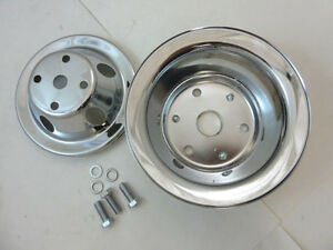 Sb Chevy Sbc Chrome Steel 1 Groove Vented Long Water Pump Pulley Kit Set 283 350