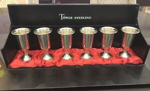 Vintage Six Towle Sterling Silver Cordial Cups Weighted Reinforced In Box