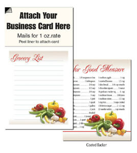Grocery List Magnetic Business Card Notepads Note Scracth Pads Customer Handout