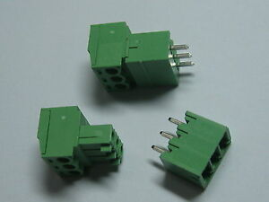 150 Pcs Screw Terminal Block Connector 3 81mm 3 Pin way Green Pluggable Type New