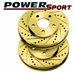 Brake Rotors Front Powersport Gold Drill Slot Ford Mustang 1994 2004 Cobra