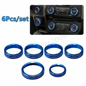 Set Of 6 Air Conditioner Audio Switch Ring Cover Trim Blue For Ford F150 16 18