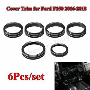 6x Black Air Conditioner Audio Switch Knob Ring Cover Trim For Ford F150 16 18
