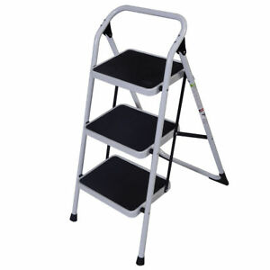 New Non Slip 3 Level Step Stool Folding Ladder Safety Tread Black