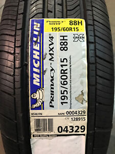 1 New 195 60 15 88h Michelin Primacy Mxv4 Tire