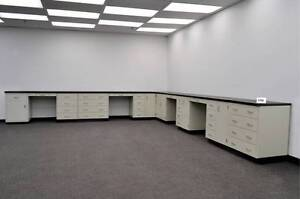 34 Base Laboratory Cabinets W Counter Tops