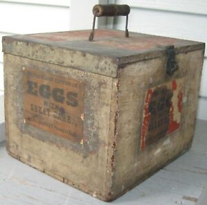 Antique Wooden Egg Box W Paper Labels Egg Holders Handle Latch Shipping Box