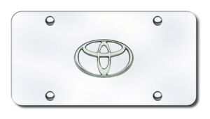 Auto Gold Toy cc License Plate Chrome Toyota Logo Chrome Plate Stainless Steel