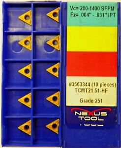 20pc Nexus Carbide Inserts Tcmt 21 51 hf 251 Indexable Coated Tips Bits A129