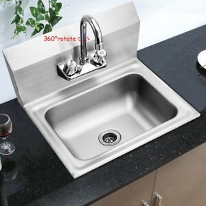 Commercial Stainless Steel Wall Mount Kitchen Hand Washing Sink Basin W Faucet