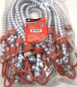 Bungee Cord Heavy Duty 12 Pc Set 24 Inch 2 Ft Red Tip Tie Down Strap Bungy