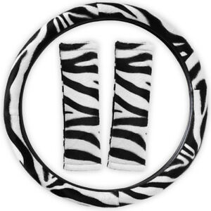 Steering Wheel Cover For Car Truck Van Suv Animal Print Zebra White Belt Pads