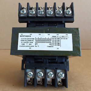 Square D 9070t100d19 0 1 Kva 208 240 277 380 480v To 24v 1ph Control Transformer