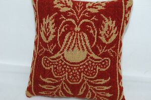 Red Ecru Coverlet Doll Pillow Antique Basket Crock