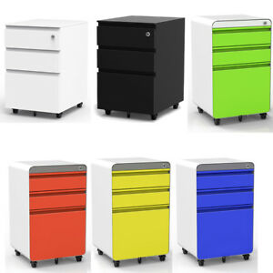 3 Drawer Metal Mobile File Cabinet Filing Organizer Home Office With Wheel