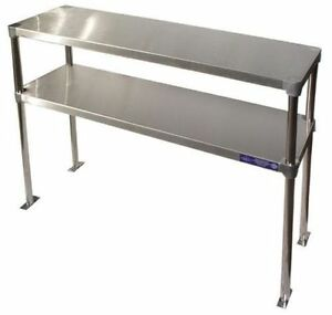 Stainless Steel 14 x36 Table Mounted Adjustable Double Over shelf Nsf