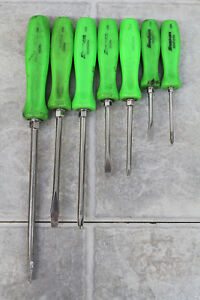 Snap on 7 Pc Sddx70ag Combination Green Screwdriver Set out Of Case