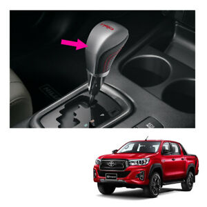 Genuine Leather Gear Knob Automatic Trd Silver For Toyota Hilux Revo 2015 2019