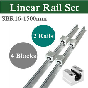 2pcs Sbr16 1500mm Linear Rail Shaft Rod 4pcs Sbr16uu Block For Cnc