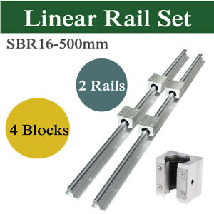Sbr16 500mm Linear Slide Rail Way Shaft Rod 4pcs Sbr16uu Bearing Block For Cnc