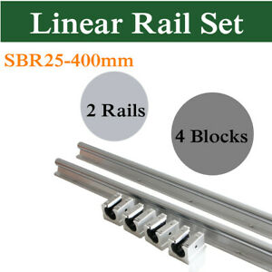 25mm Linear Rail Sbr25 400mm Fully Supported Shaft Rod Slide Guide 4x Sbr25uu