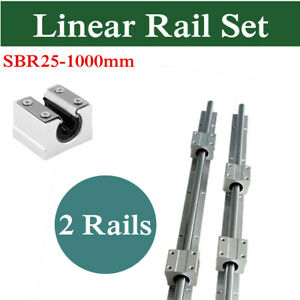Linear Rail 25mm Sbr25 1000mm Slide Guide Way 4x Sbr25uu Block For Cnc