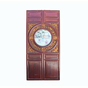 Chinese Vintage Round Porcelain Scenery Wood Wall Panel Art Cs4239