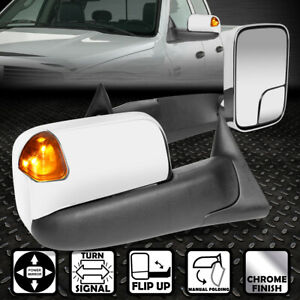 For 94 02 Dodge Ram Pair Chrome Powered Side Towing Mirror Led Turn Signal Light