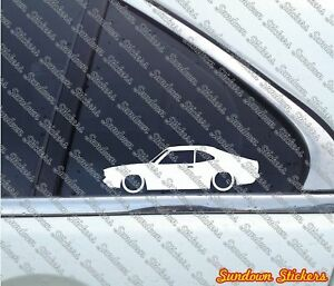 2x Lowered Car Outline Stickers For Mazda Rx 3 Savanna 808 Coupe Classic