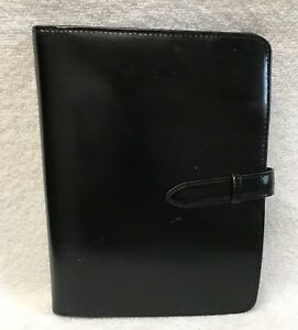 Classic Franklin Covey Genuine Leather Ring Binder Planner Organizer Black Euc