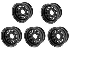 Black Steel Wheel 15x10 5x4 5 For Jeep Wrangler Tj Yj 87 06 Set Of 5 15500 02
