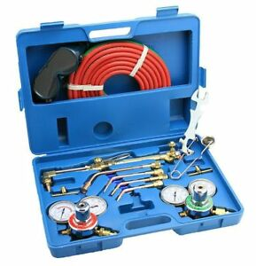 Gas Welding Cutting Kit Oxygen Torch Acetylene Regulator Welder Portable Case