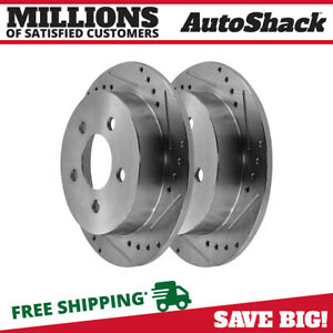 Rear Drill Slotted Performance Rotors Pair 2 Fits 00 05 Chevrolet Impala 56629
