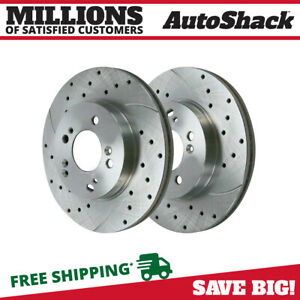 Front Performance Drilled Slotted Rotor Pair For 2008 2010 Honda Accord Silver