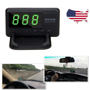 Car Gps Hud Head Up Digital Speedometer Mph Km H Overspeed Warning Usb Charger