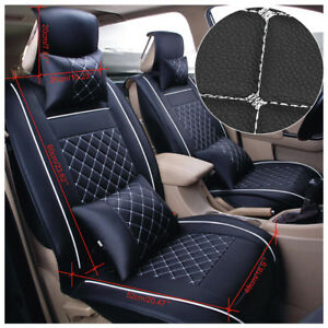 Universal Car Suv 5 seats Pu Leather Seat Covers Front Rear Cushion Rear Pillows