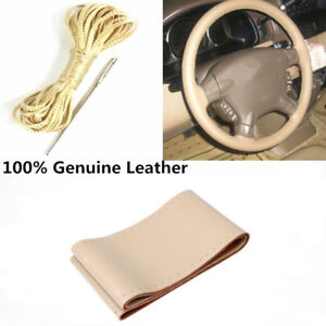 Universal Car Steering Wheel Cover Beige Stitching Genuine Leather 38cm 15