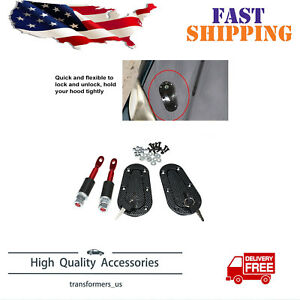 Jdm Carbon Fiber Hood Pin Plus Flush Mount Latch Kit Lock With Key Universal