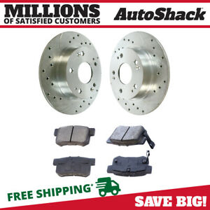 Rear Drilled Slotted Rotors And Metallic Pads For 2006 2011 Honda Civic Silver