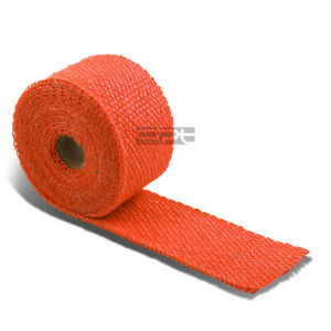 15ft 180 L 2 W Exhaust Manifold Header Downpipe Piping Orange Hi Temp Heat Wrap
