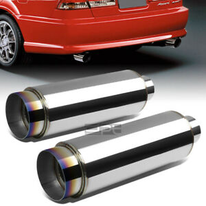2x 3 inlet With 4 5 burnt Tip silencer Polish 304 Steel Round Exhaust Muffler