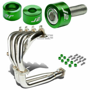 J2 For Civic D15 D16 Exhaust Manifold 4 2 1 Header Green Washer Cup Bolt Kit