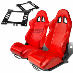 Type 1 Racing Seat Red Pvc Silder Rail For 99 05 Vw Golf Mk4 Jetta Bracket X2