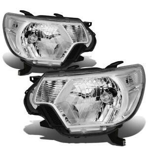For 2012 2015 Toyota Tacoma Pair Chrome Housing Clear Corner Headlight Head Lamp