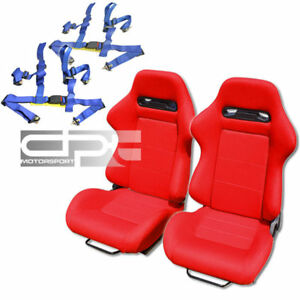 Reclinable Red Canvas Cloth Bucket Racing Seats 4 Point Blue Buckle Belts Slider