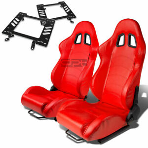 Type 1 Racing Seat Red Pvc silder rail for 79 98 Ford Mustang Bracket X2