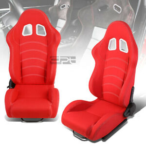 L R Red Double Stitch Reclinable Woven Fabric Type R Racing Seats W Sliders
