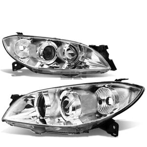 Fit 2004 2009 Mazda 3 Chrome Housing Clear Side Euro Projector Headlight lamp