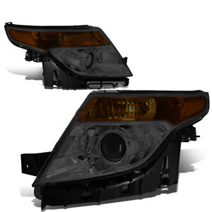 Fit 2011 2015 Ford Explorer Smoked Housing Amber Corner Projector Headlight